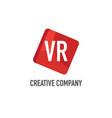 initial letter vr logo template design vector image vector image