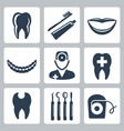 isolated dental icons set vector image vector image