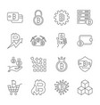 line cryptocurrency icons thin outline vector image vector image