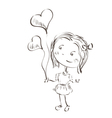 little girl holding hearts vector image vector image