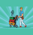male passenger traveler with luggage on the vector image vector image