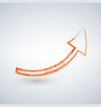 orange grunge arrow on a solid white background vector image