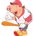 Pig Baseball Player Cartoon vector image