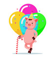 piglet standing with a cane candy in a festive cap vector image