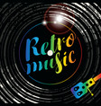 poster for the retro music with vinyl record vector image vector image