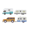 retro camper trailer collection car trailers vector image vector image