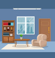 room armchair table plant bookshelf trophy clock vector image vector image
