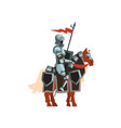 royal knight sitting on horse with red flag vector image