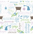 seamless christmas pattern with hand drawn words vector image