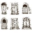 set doodle doors sketch eps 10 vector image vector image