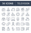 set flat line icons television vector image vector image