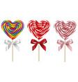 set heart shaped lollipops for valentines day vector image vector image