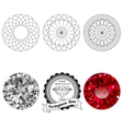 Set of portuguese rose cut jewel views vector image vector image