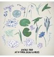Set of vintage pond water flowers elements vector image