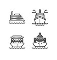 ships flat line icons cargo shipping tanker sea vector image vector image