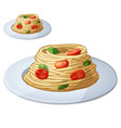 spaghetti with tomato cherries and meatballs vector image