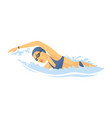 swimming woman - modern colorful cartoon vector image