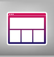 web window sign purple gradient icon on vector image vector image