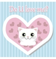 White cat lies and looks for Valentine day vector image vector image
