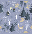 winter seamless pattern with doodle forest vector image vector image