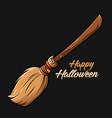 witch broom happy halloween vector image vector image