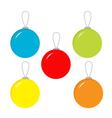 Set of five Christmas balls vector image