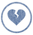 heart break rounded fabric textured icon vector image