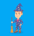 little caucasian boy dressed as a magician vector image