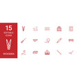 15 wooden icons vector image vector image