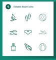 9 beach icons vector image vector image