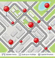 abstract city plan with location pins vector image vector image