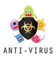 anti-virus shield with virus cartoon vector image