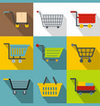 basket icons set flat style vector image vector image
