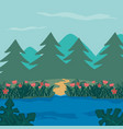beautiful forest landscape vector image vector image