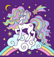 beautiful white unicorn on a rainbow for design vector image vector image