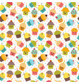 birthday background kawaii cupcakes seamless vector image vector image