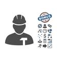 Builder Person Flat Icon With Bonus vector image
