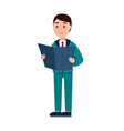 businessman reading papers vector image vector image