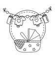 cradle icon cartoon in black and white vector image