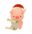 cute cartoon pig reads paper letter wish list vector image
