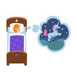 cute girl sleeping in bed and dreaming about vector image vector image