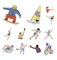 different kinds of sports cartoon icons in set vector image vector image