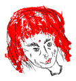 drawing woman with red hair on white vector image vector image