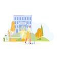 elderly unhealthy woman walking in hospital park vector image vector image