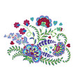 embroidery stitches with fantasy flowers in bright vector image vector image
