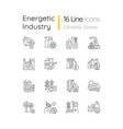 energy industry linear icons set vector image