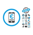 Euro Mobile Bank Account Flat Icon with vector image vector image