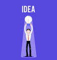 flat business man with light bulb idea vector image vector image