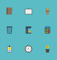 flat icons contact watch whiteboard and other vector image vector image