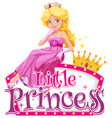 font design for word little princess with cute vector image